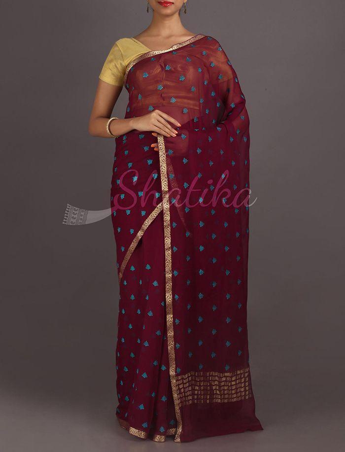 Aaradhya Icy Blue Leaves Ornate Lace Border Pure #MysoreChiffonSaree