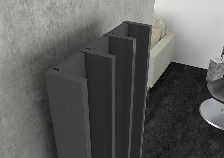 Radiatore d'arredo Groove, particolare degli elementi in alluminio