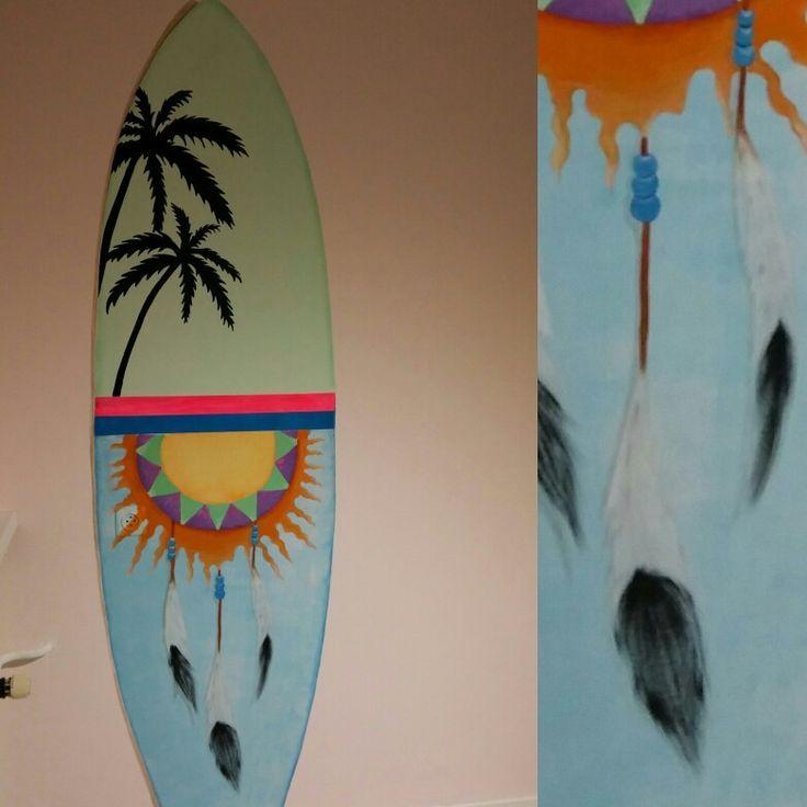Surfboard Muurschildering in Ibiza, Beach kinderkamer door Niekie Kids Design!
