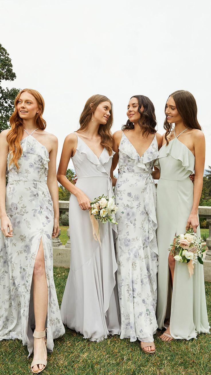 Spring 2019 Bridesmaids In 2020 Printed Bridesmaid Dresses Floral Bridesmaid Dresses Summer Bridesmaid Dresses