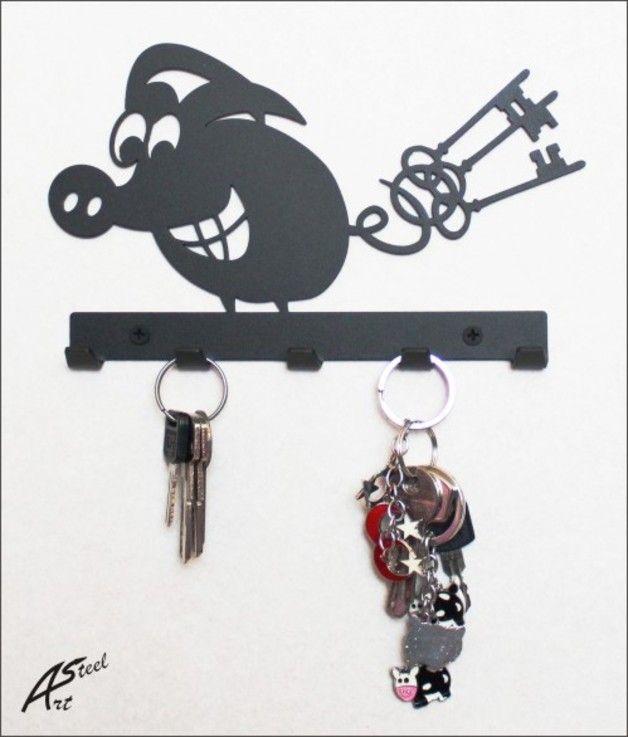 Schlüsselhaken Happy Pig 2, Design, Geschenk
