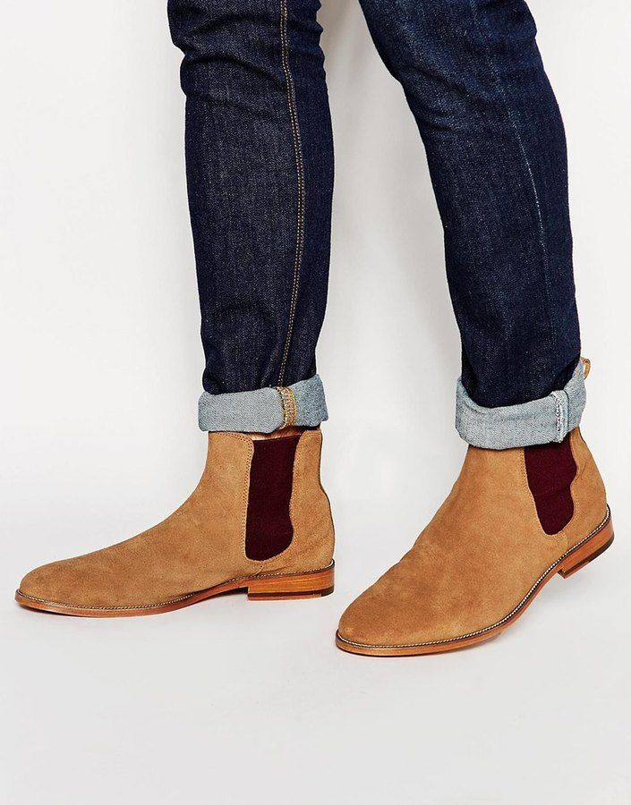 $297, Bobbies Lhorloger Suede Chelsea Boots. Sold by Asos. Click for more info: https://lookastic.com/men/shop_items/339600/redirect