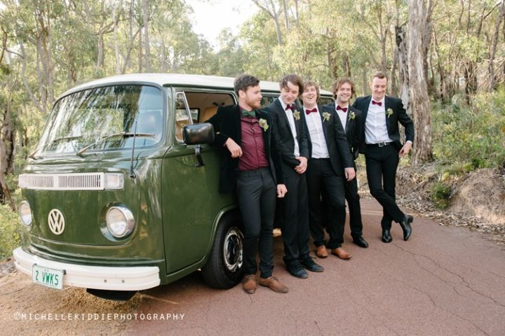 The Kombi suited the groomsmen down to a V (W) at this wedding I photographed at Darlington Estate Winery!