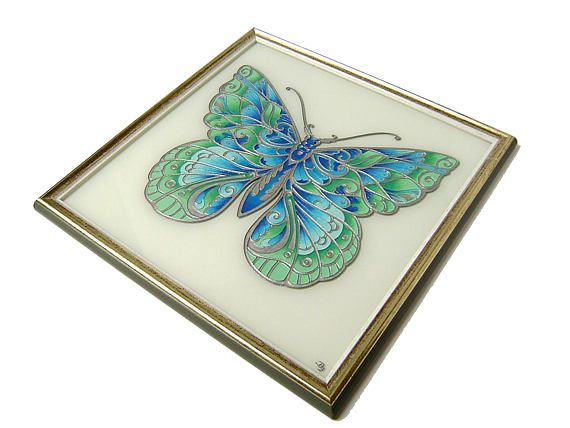 Bohemian Blue Butterfly Picture Blue Turquoise Silver and