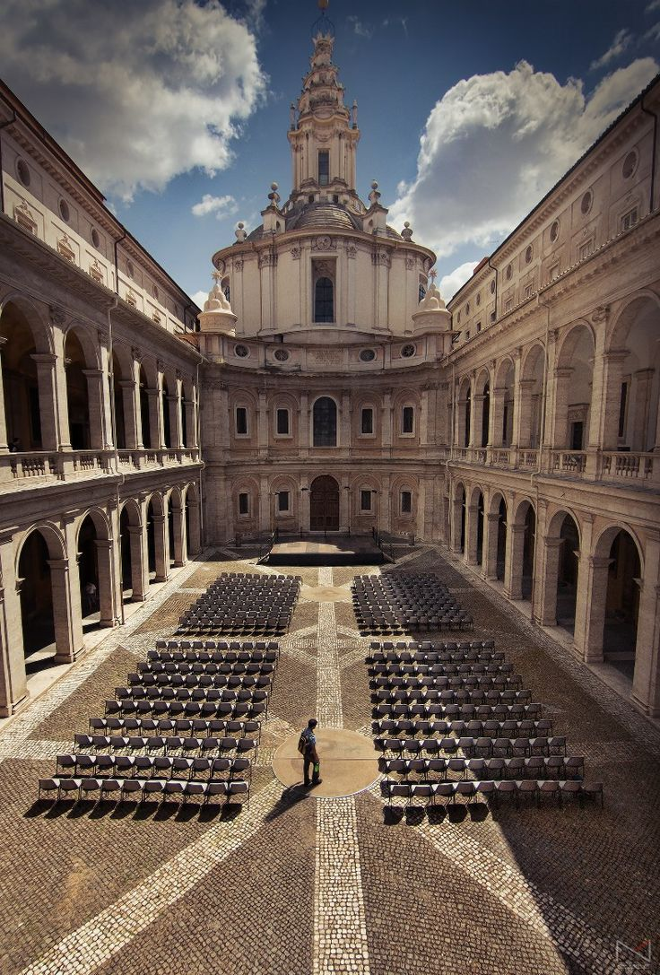 Sant'Ivo alla Sapienza è una chiesa di Roma, situata nel rione di Sant'Eustachio, realizzata nella seconda metà del XVII secolo (tra il 1642 e il 1660) dall'architetto ticinese Francesco Borromini.  Photograph Too Soon by Noam Mymon on 500px
