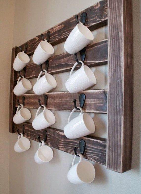 Rustic Coffee Rack - Coffee Mug Storage - Tea Cup Storage - Kitchen & Dining Room Storage
