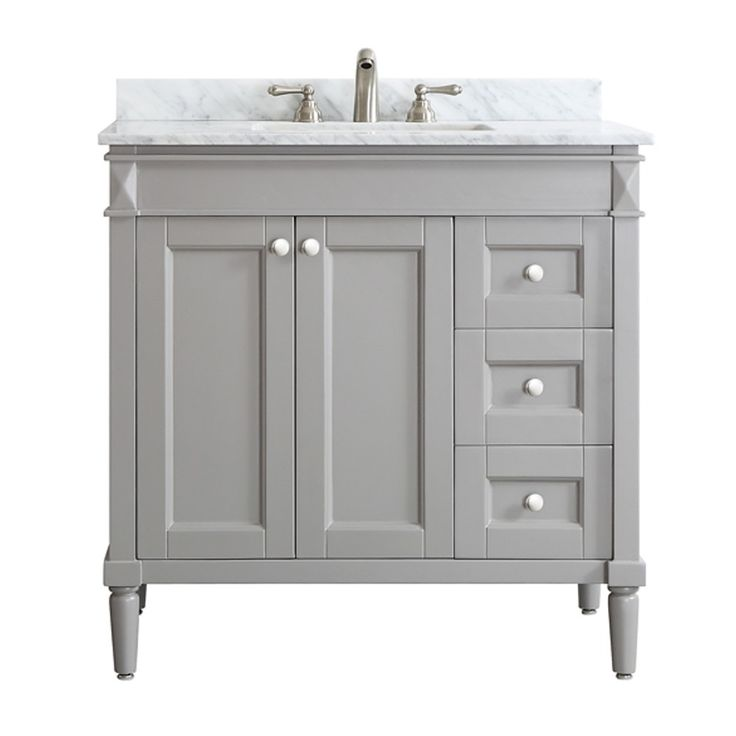 catania greywhite carrara marble top 36inch single vanity by vinnova