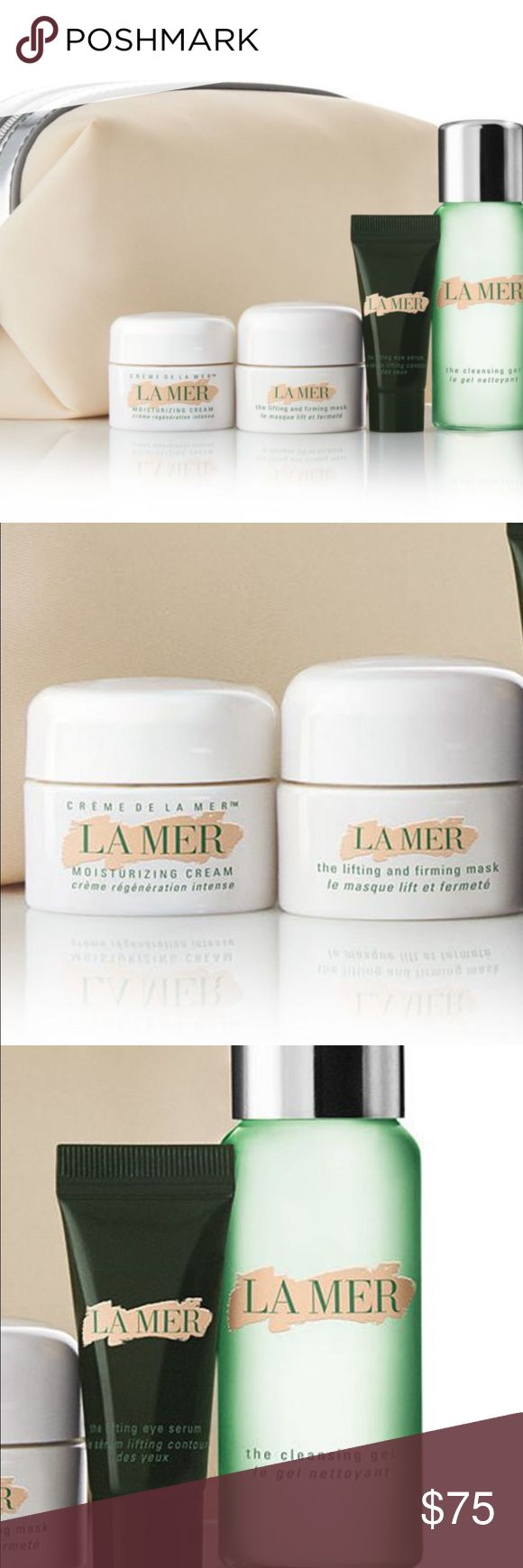La mer 5 piece bundle La mer deluxe samples of Crème de la Mer, The Lifting & Firming Mask, The Lifting Eye Serum and The Cleansing Gel, all in a cosmetic case La Mer Makeup