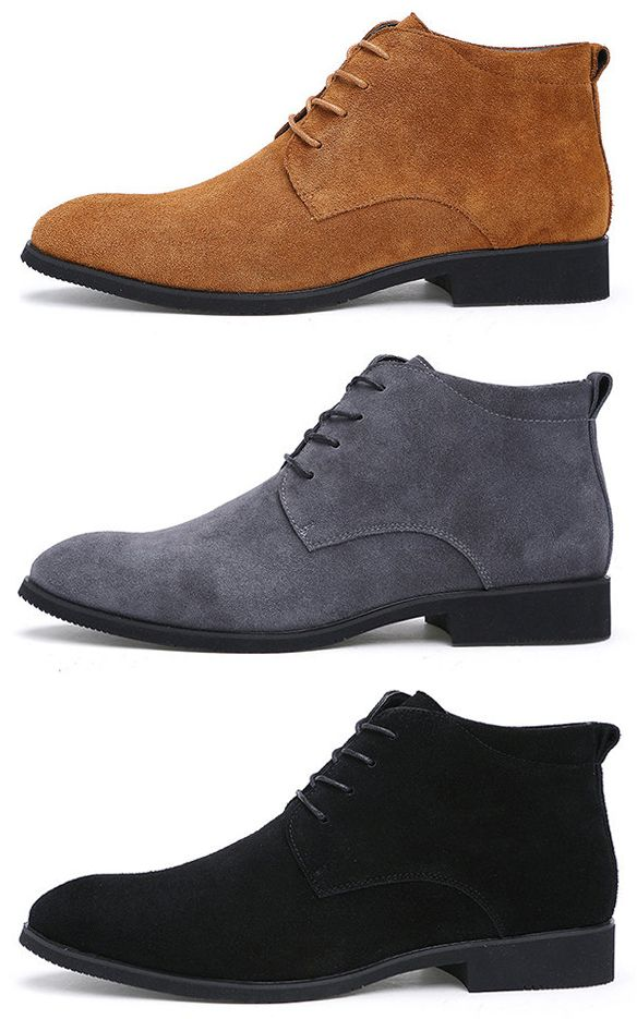 US$43.98 Men Cow Leather Pointed Toe Plush Lining Casual Boots#shoes #fall
