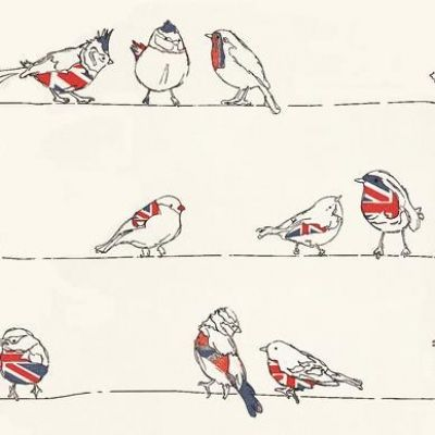 Birds of a feather (96740) - Albany Wallpapers - A fun, cute design of English garden birds, including robins and sparrows sitting on a line, with union jack highlights.  Perfect to add a witty touch to your interior design. Please request a sample for true colour match.
