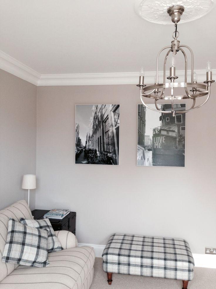Living Room, Farrow and Ball Elephants Breath, John Lewis Warwick chandelier, Photobox art, period property, Victorian, coving