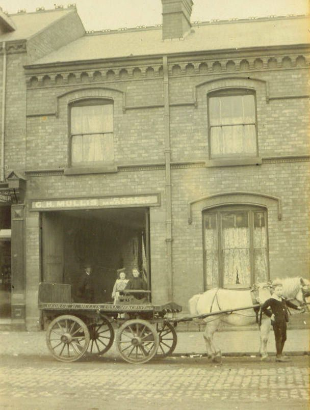 The Mullis house 208 Edward road Balsall Heath Birmingham. In this pic my great grand mother and grand mother as a child by the gate. My great uncle holding the horse. Sonny Jim the groom to the left of the gate.