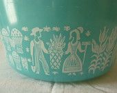 Vintage Pyrex 2.5 QT Ovenware Casserole with Lid - Turquoise Blue Amish Butterprint Pattern - Made in USA