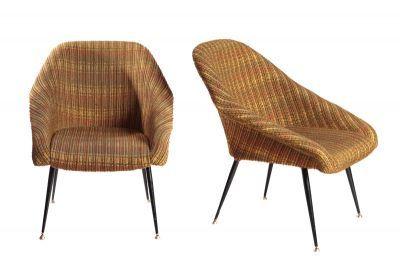 """Para foteli """"Ewa"""" metal, tkanina,  78,5 x 67 x 52 cm, wys. siedziska: 58 cm Strzeleckie Zakłady Przemysłu Terenowego, 3 ćw. XX w."""