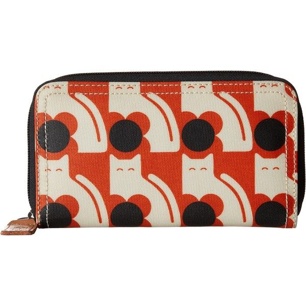 Orla Kiely Poppy Cat Print Big Zip Wallet (Persimmon) Wallet Handbags (74 AUD) ❤ liked on Polyvore featuring bags, wallets, orange, zipper bag, zipper wallet, cat wallet, cat bag and orla kiely wallet