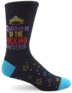 """Socks With Attitude Qn Of The F* Univsock One Size, 15"""" X 3 1/2"""" X 1"""" by Socks with Attitude. $7.50. Form-fitting arch construction. Non-ravel top. 80% cotton, 10% rubbertex, 10% nylon. Impact-absorbing double cushion sole. Breathable combed cotton with stretch spandex for strength and flexibility. Express yourself by wearing these socks with attitude! are you a naughty girl? a slut? a diva? show your true colors with these outrageous socks! over 50 hilarious styles!"""