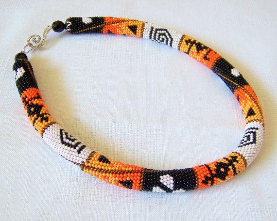Bead crochet necklace by lutita on Etsy.