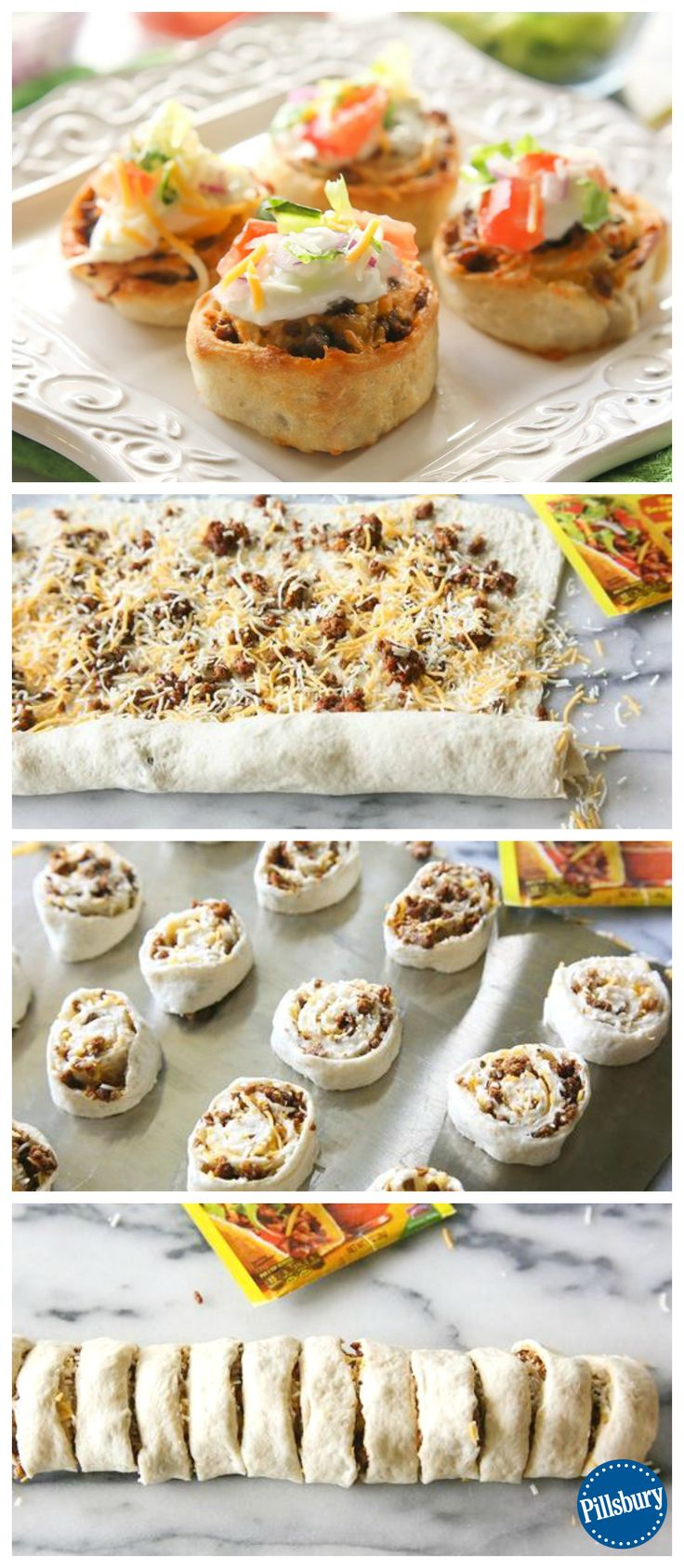 Taco-anything makes us smile! Create these fun Taco Pinwheels tonight for a delicious and fresh take on a weekday dinner favorite.