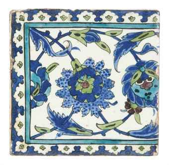 Four Damascus pottery tiles.   Ottoman Syria, 17th century
