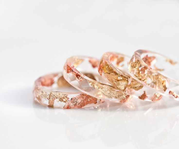 Resin Stacking Ring Yellow Pink Gold Flakes Small Faceted Ring OOAK boho minimalist jewelry rusteam by daimblond on Etsy