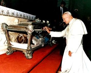 St. John Paul II venerating the sacred body of St. Maria Goretti shortly after the election as Supreme Pontiff in July 1979.