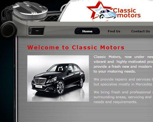 Web Design - Classic Motors a Professional and creative web design for a vehicle repair shop.