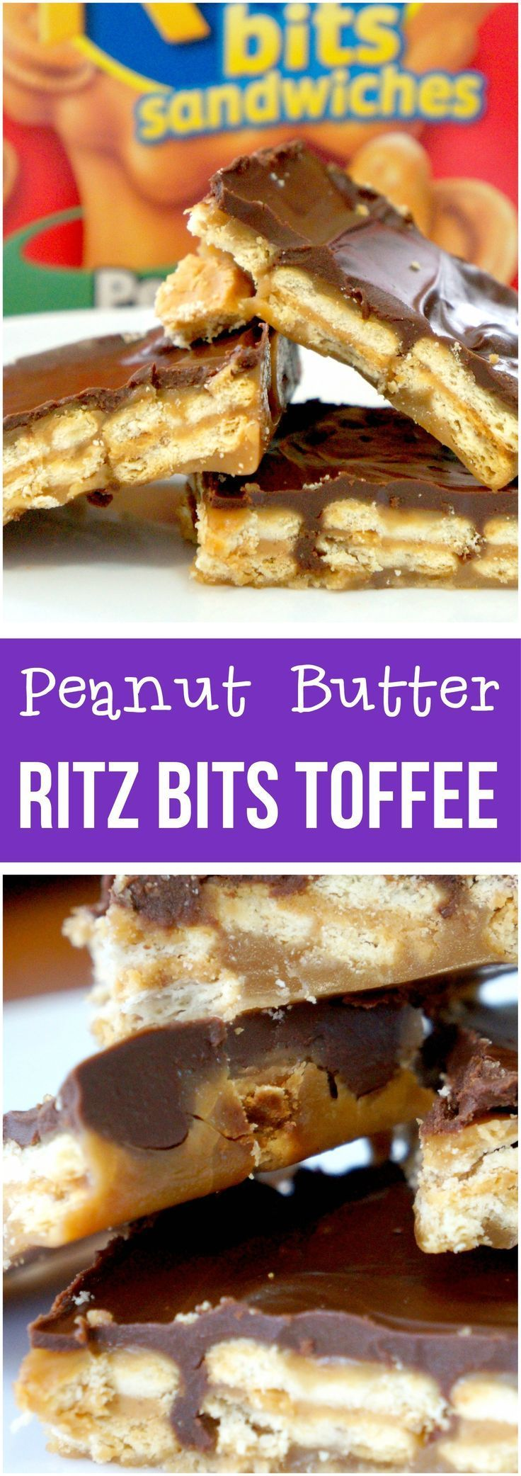 Easy cracker toffee recipe using peanut butter Ritz Bits instead of saltines. Perfect for Christmas and other holidays.