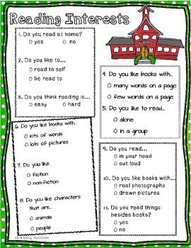 Guided Reading Interest Inventory Survey: this survey is intended for first or second graders.  It is to help plan for guided reading.