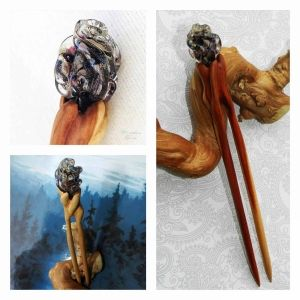 """""""Evening"""" Wooden 2 prong Hairpin by OakForest Woodwork & MarLenGlass (Moscow). Handmade. Materials: Wild pear wood, Linseed oill, Decor - lampwork by MarLenGlass. Size: - 17x2 cm."""