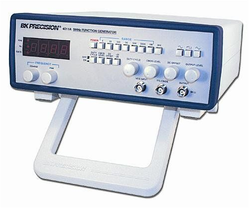 B&K Precision 4011A Function Generator, 4 Digit LED, 0.5 Hz to 5 MHz Frequency Range  Sine, Square, Triangle, Pulse & Ramp output  Variable duty cycle  Variable DC offset  Variable amplitude output plus 20 dB attenuator  20 Vpp output into open circuit (10 Vpp into 50Ω)