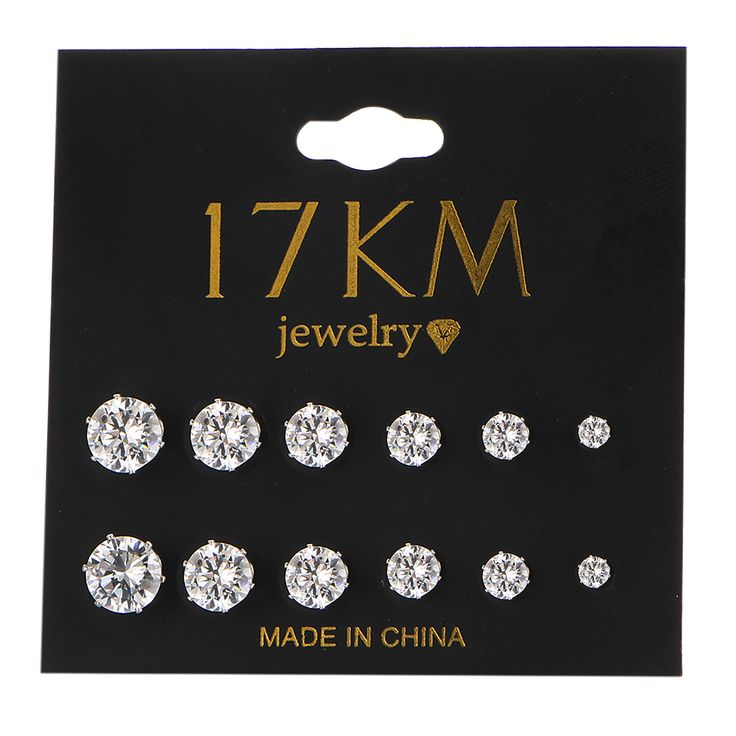 17KM Fashion 6 Pair/ set Punk Accessories Crystal Stud Earrings Set For Women Round Flower Gothic Design Brincos Jewelry Bijoux