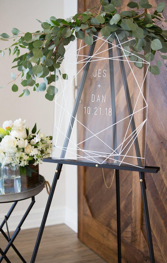 Wedding Sign Clear Glass Look Acrylic Wedding Sign Sign, Geometric Lines Modern Minimalist, Modern Home Decoration (Element – GCW640) – Modern Wedding