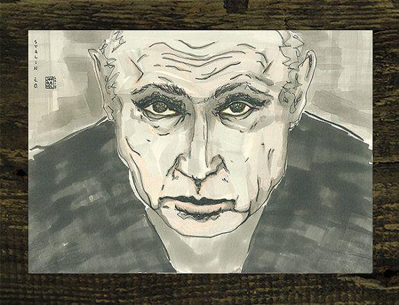 Cute Portrait Karikatur Wladimir Putin Illustration Druck von Jouravel