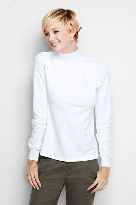 Women's Long Sleeve Relaxed Cotton Mock Turtleneck from ...