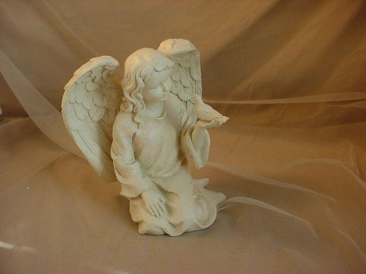 Garden Angel Figurine Sculpture with Bird Resin or Composite 7 inch Ivory