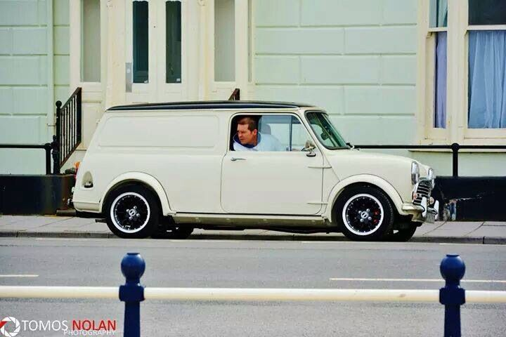 White mini van classic with black roof