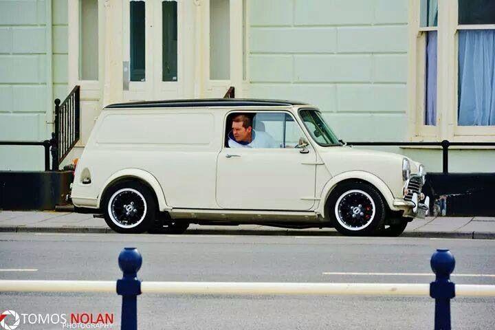 White mini van classic with black roof