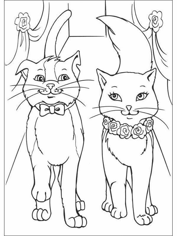 coloring book pages to print | Barbie Princess and Cat Coloring Pages