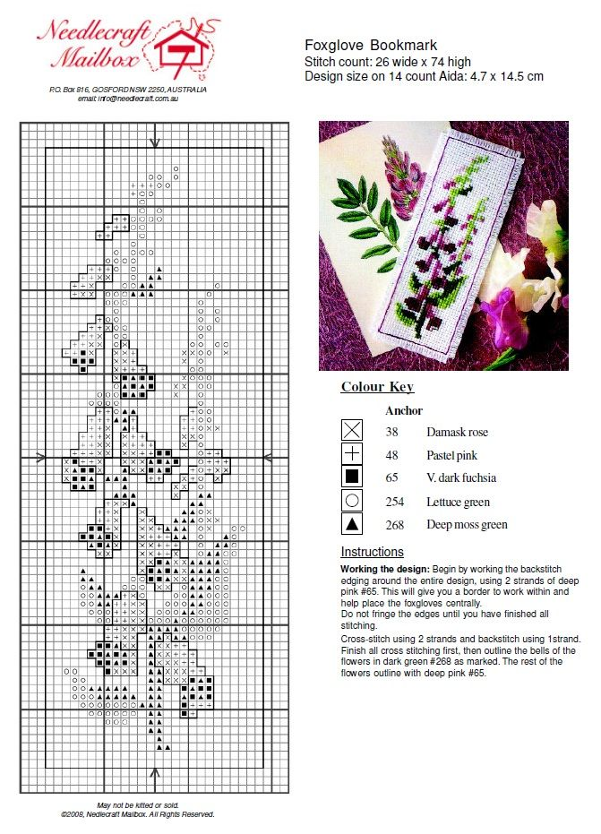 Foxgloves bookmark cross stich pattern
