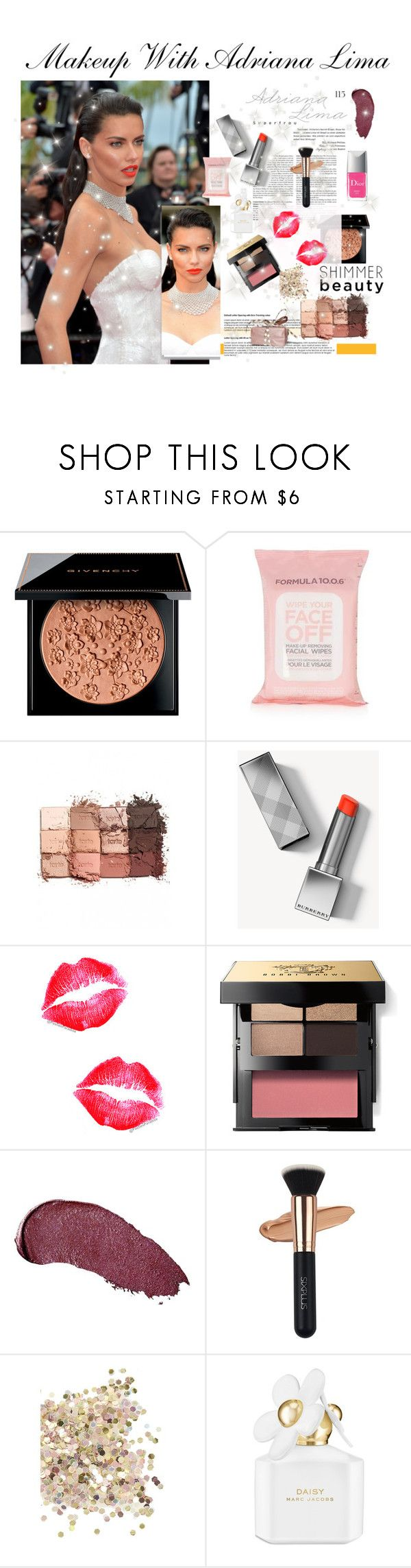 """""""Make up WIth Adriana Lima"""" by faanciella ❤ liked on Polyvore featuring Givenchy, Topshop, tarte, Burberry, Bobbi Brown Cosmetics, Kat Von D, Marc Jacobs, Christian Dior, ArianaGrande and cannes"""