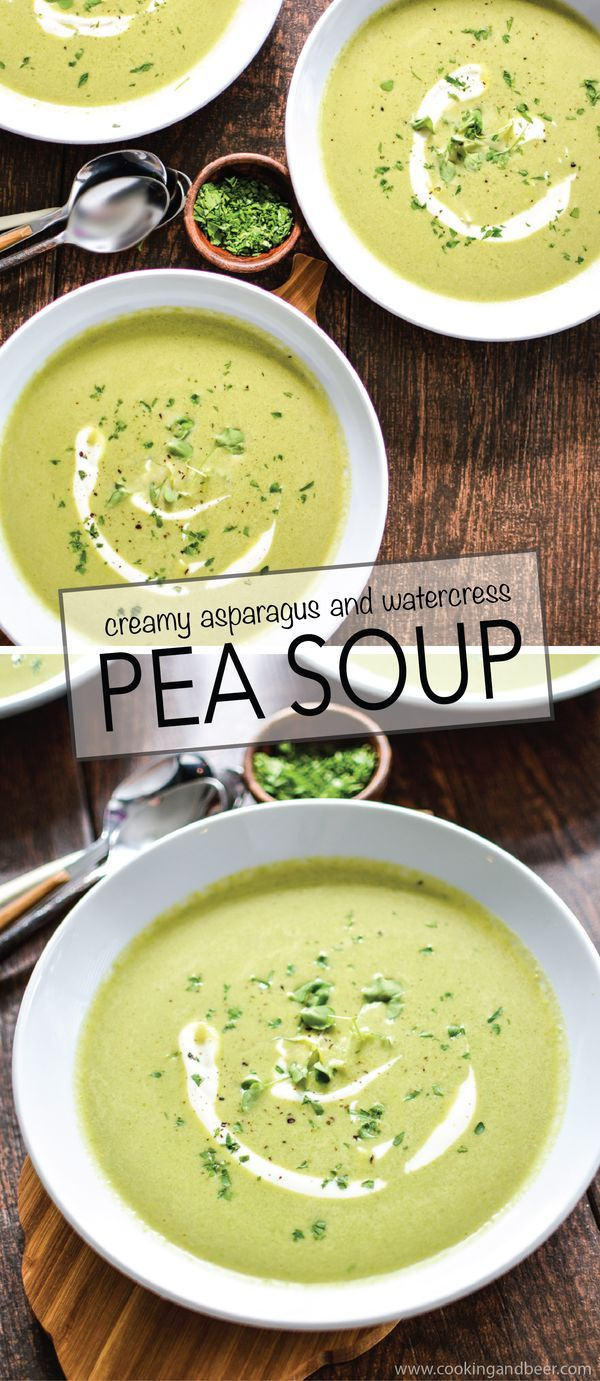 This vegan Creamy Asparagus and Watercress Spring Pea Soup highlights the vibrant flavors of spring in a simple, yet delicious recipe! | #dinner #healthy