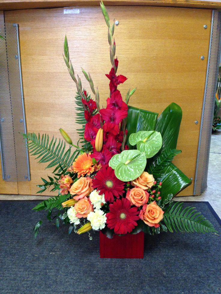 High style arrangement with anthurium, roses, glads and gerbers Always with flowers - lemont, il