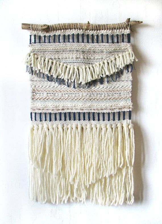 Rustic home decor Jute Hanging woven tapestry Woven wall hanging Circular weaving cotton and ceramic beads fibre art