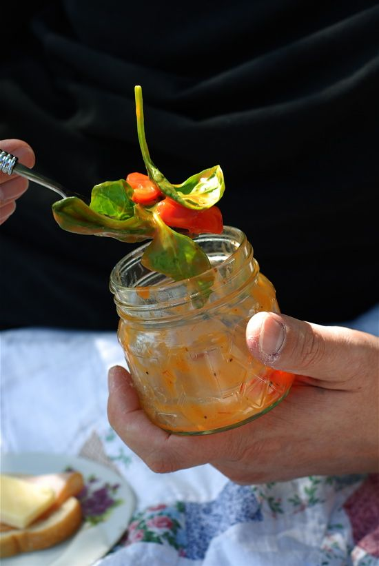 """Gently packing in wide mouth canning jars can open up many ideas for outdoor picnic food. Be careful not to pack so much you can't lift  or carry the basket though.  50 PICNIC FOODS  ~ A """"MOVABLE FEAST"""" RECIPE COLLECTION"""