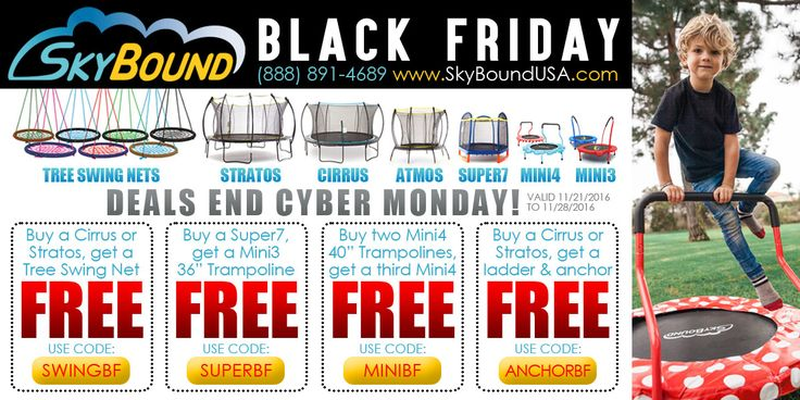Black Friday deals all week long. Exclusive savings on trampolines, outdoor accessories, trampoline parts and more!