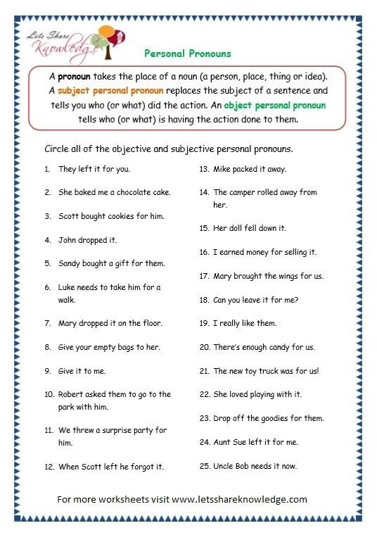 Page 7 Personal Pronouns Worksheet Personal Pronouns Worksheets Personal Pronouns Grammar Worksheets