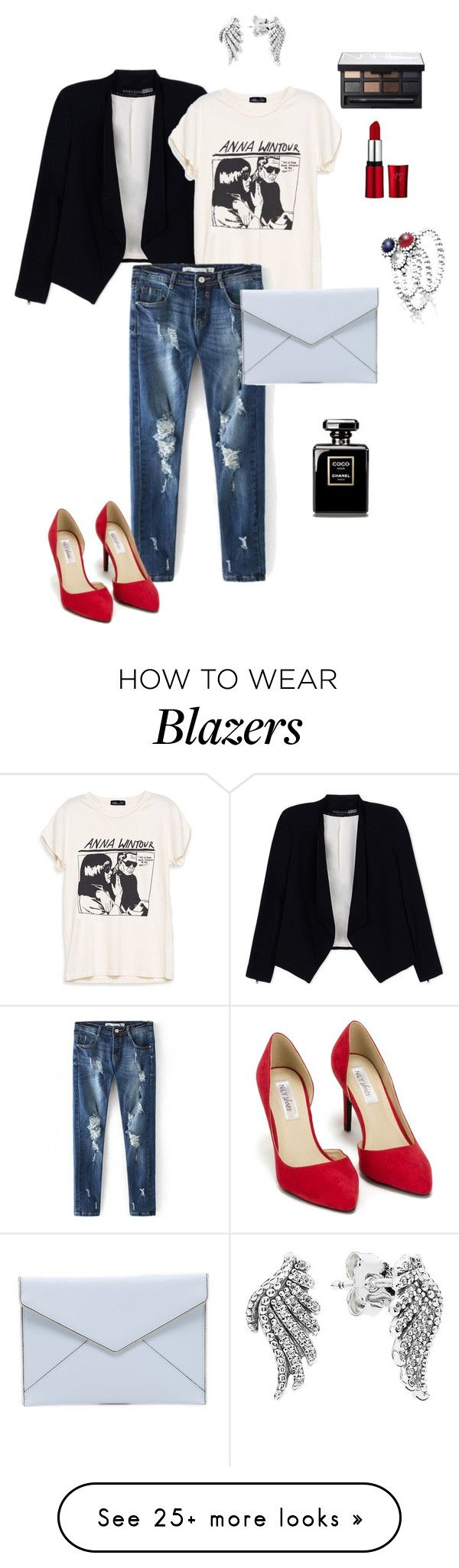 """red pumps"" by ulusia-1 on Polyvore featuring Alice + Olivia, Nly Shoes, Rebecca Minkoff, Pandora and NARS Cosmetics"