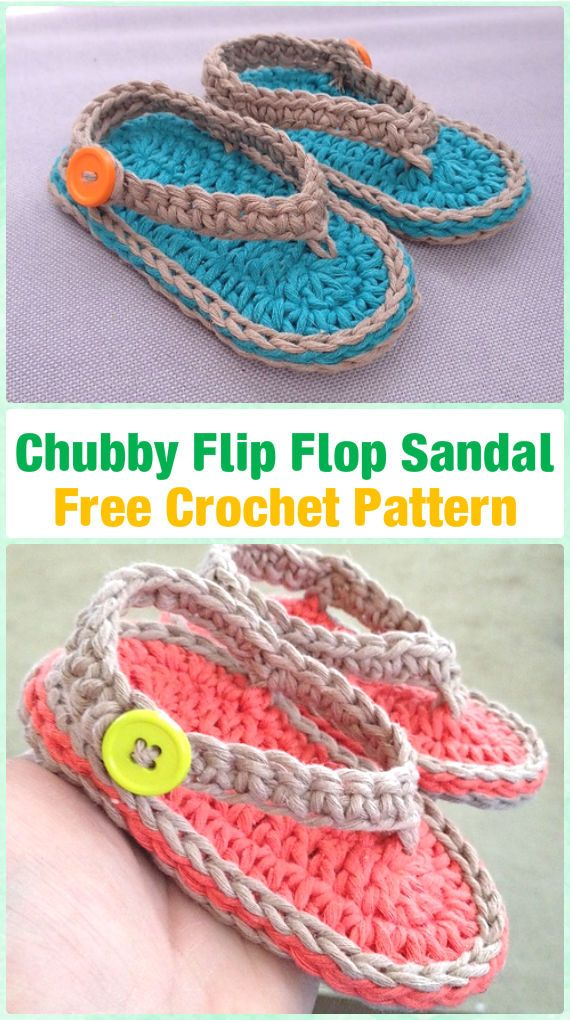 Crochet Chubby Baby Flip-Flop Sandals Free Pattern -  #Crochet Baby Flip Flop Sandals [FREE Patterns]
