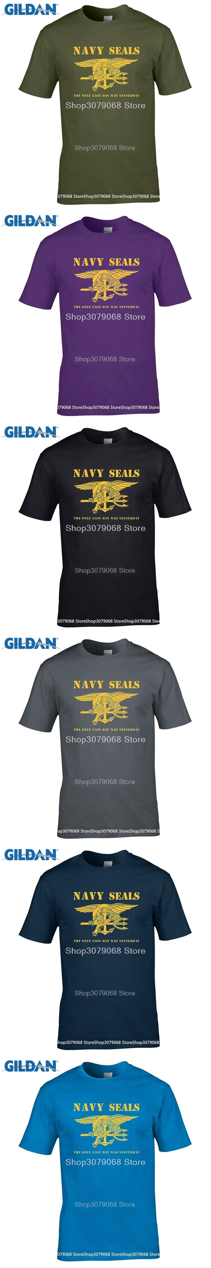 GILDAN t shirt design pattern Navy Seals Logo - The Only Easy Day Was Yesterday Premium   T-Shirt