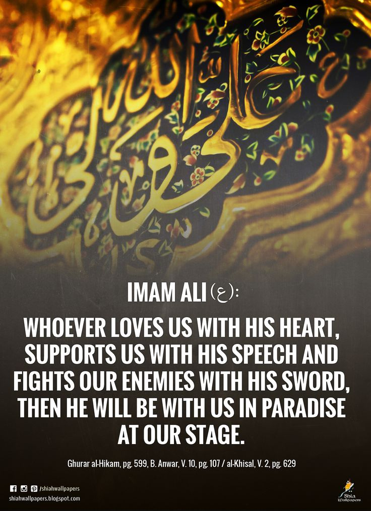Imam Ali (a.s.) said: Whoever loves us with his heart, supports us with his speech and fights our enemies with his sword, then he will be with us in Paradise at our stage. - Ghurar al-Hikam